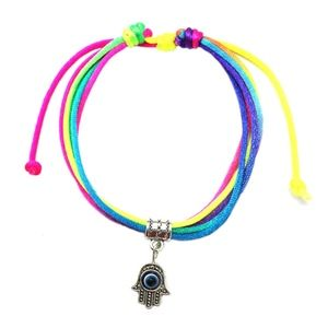 Jewelry - PREVIEW Multicolor Evil Eye Hamsa Rope Lace Bangle